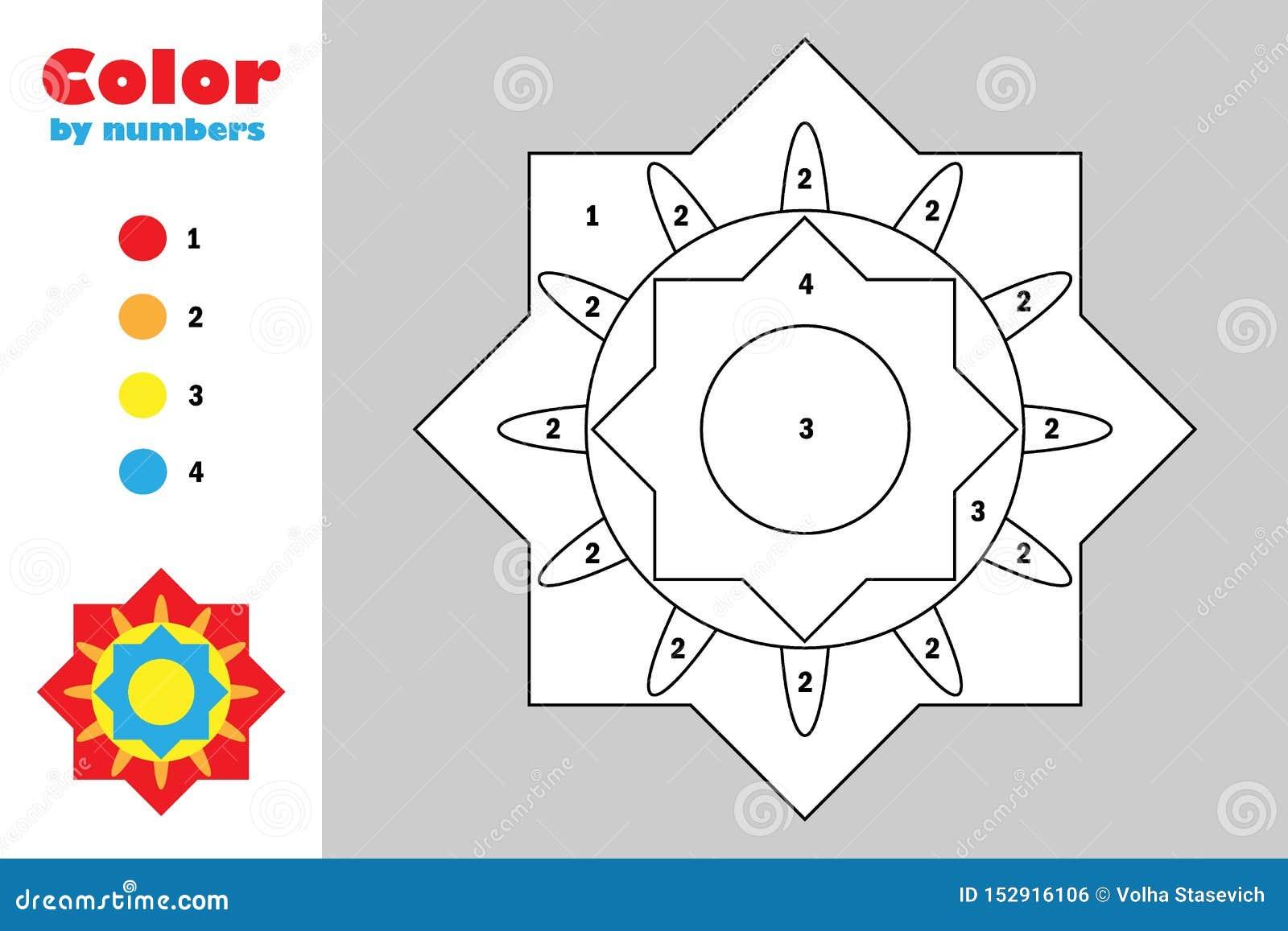 Kleurrijke mandala in beeldverhaalstijl, kleur door aantal, onderwijsdocument spel voor de ontwikkeling van kinderen, kleurende p