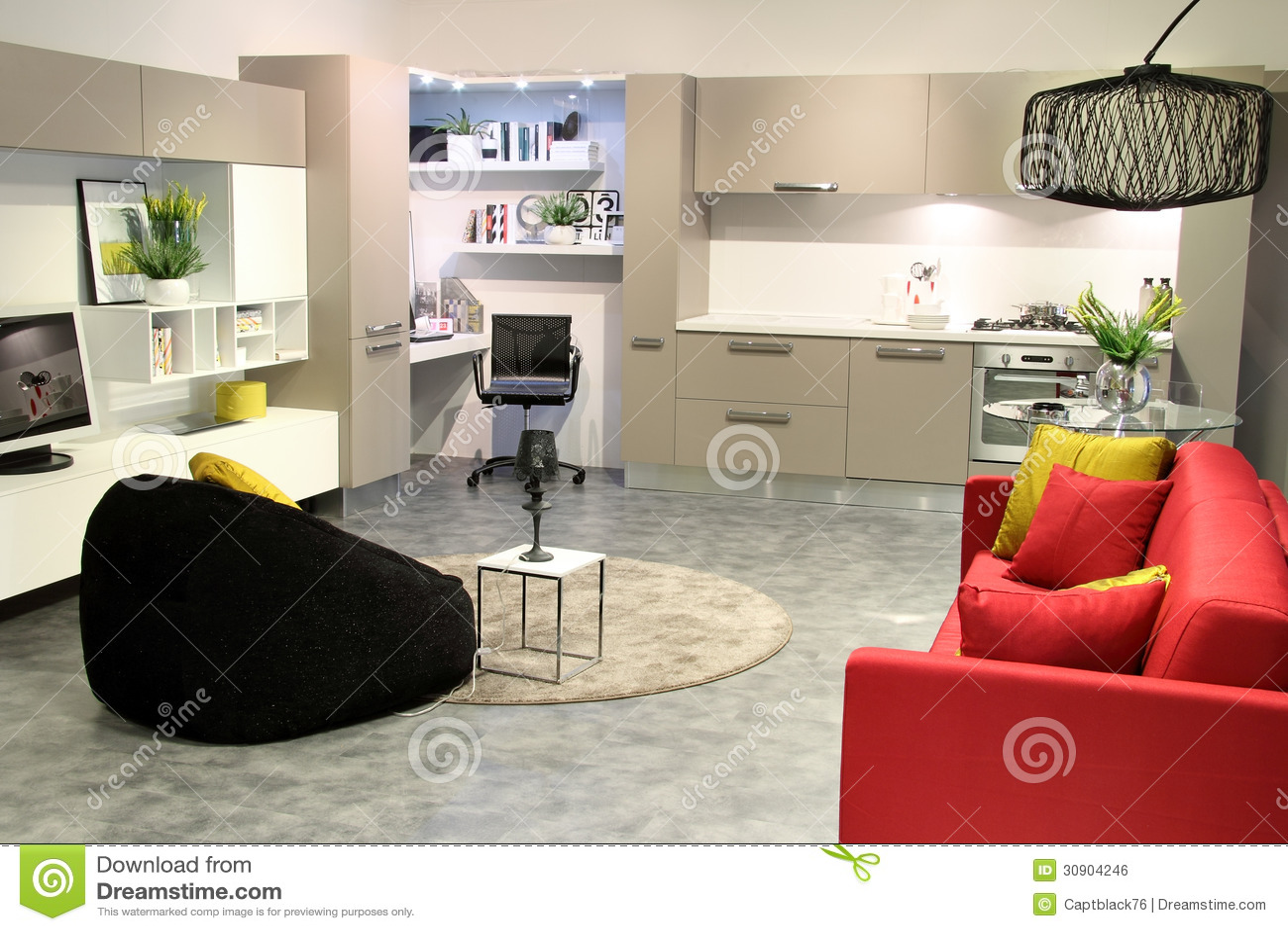 Kleurrijke moderne keuken en woonkamer royalty vrije stock afbeelding afbeelding 30904246 - Woonkamer en moderne keuken ...