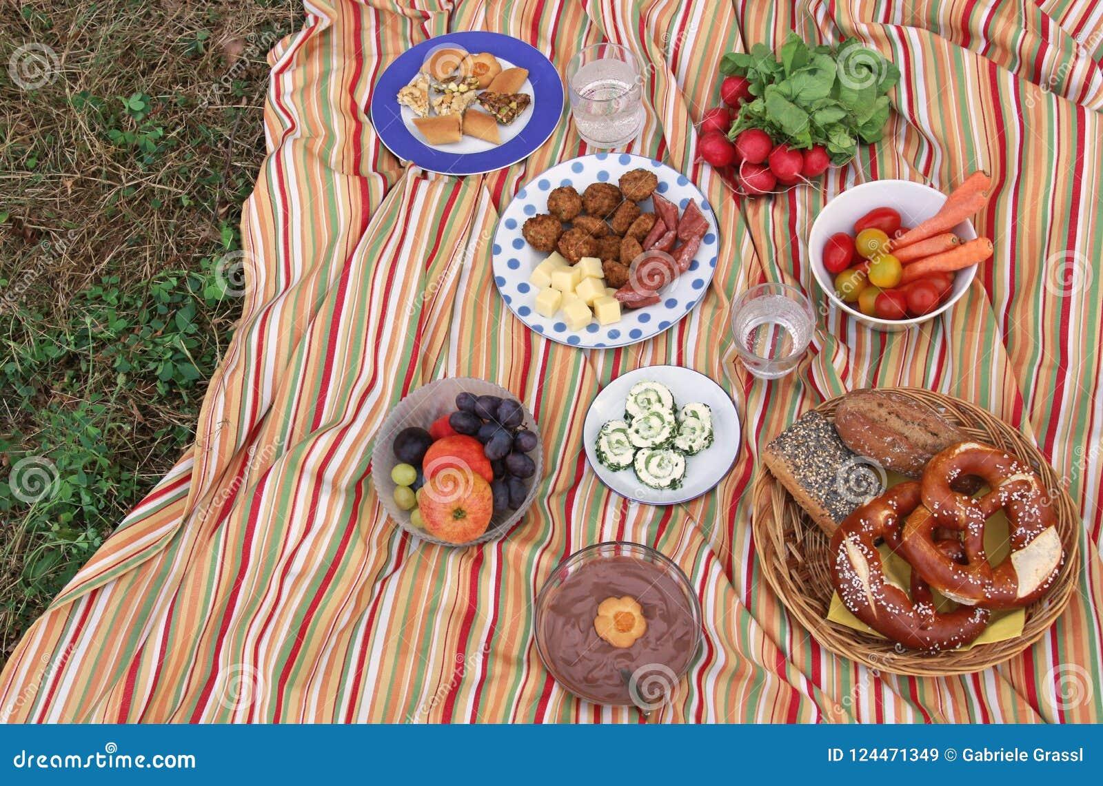Kleurrijke picknick op een weide