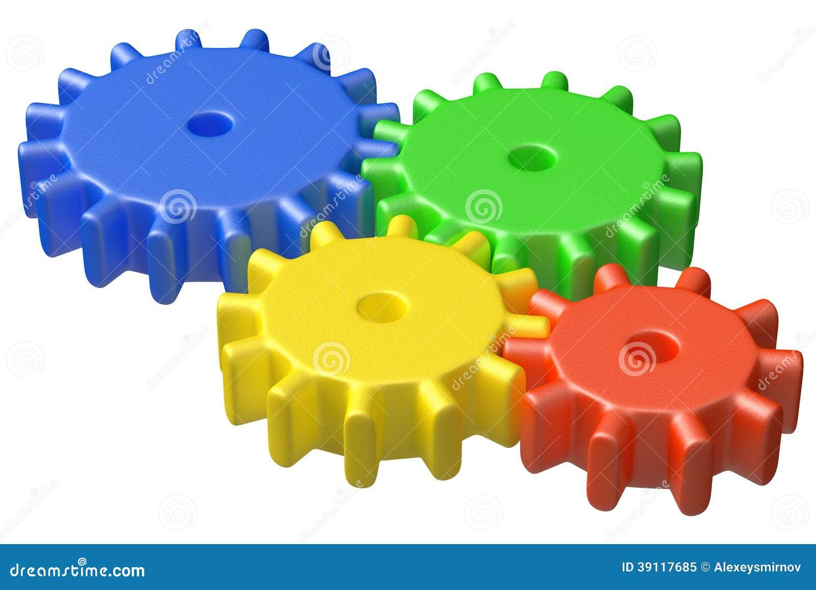 Kleurrijke plastic stuk speelgoed tandradbouw