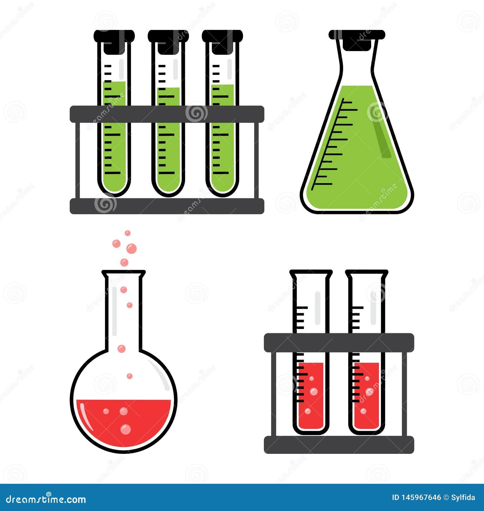 Kleurrijke reeks chemische schepen en flessen met groene, rode vloeistof Vector
