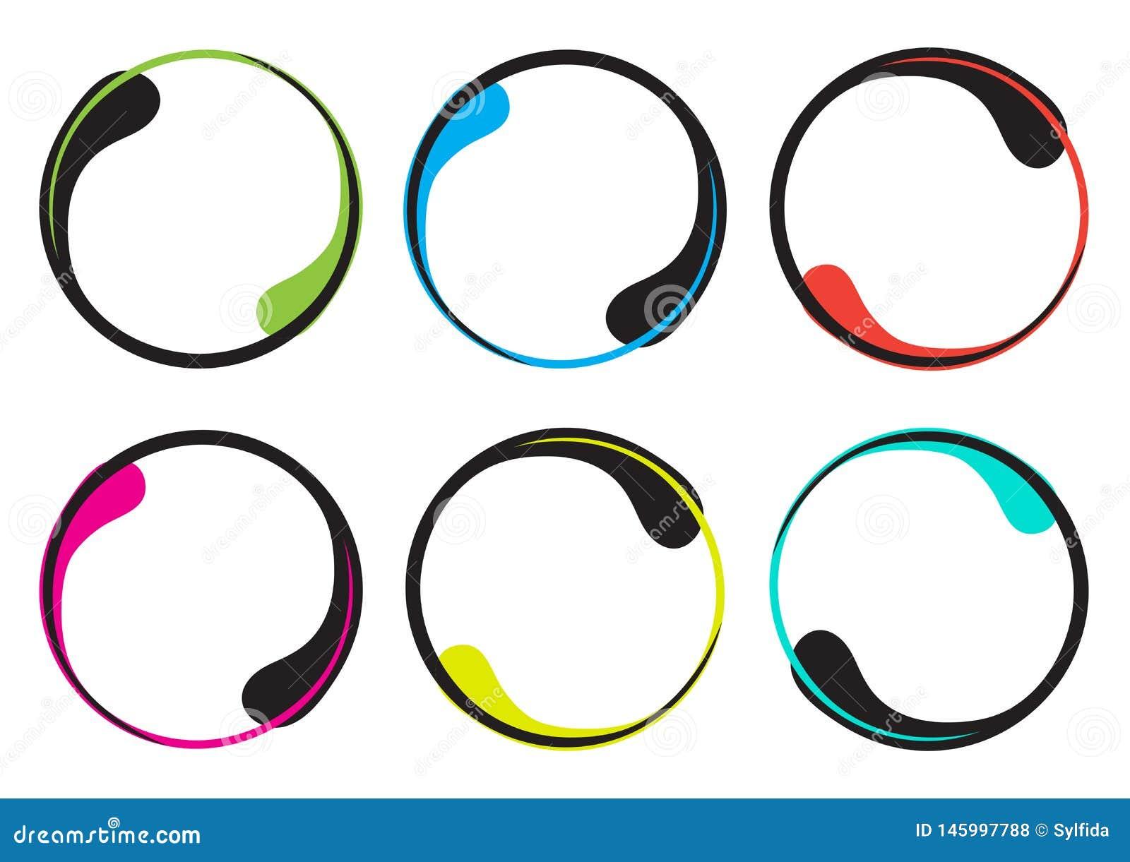 Kleurrijke reeks van decoratief rond kader voor uw tekst, grens in de vorm van een daling Vector