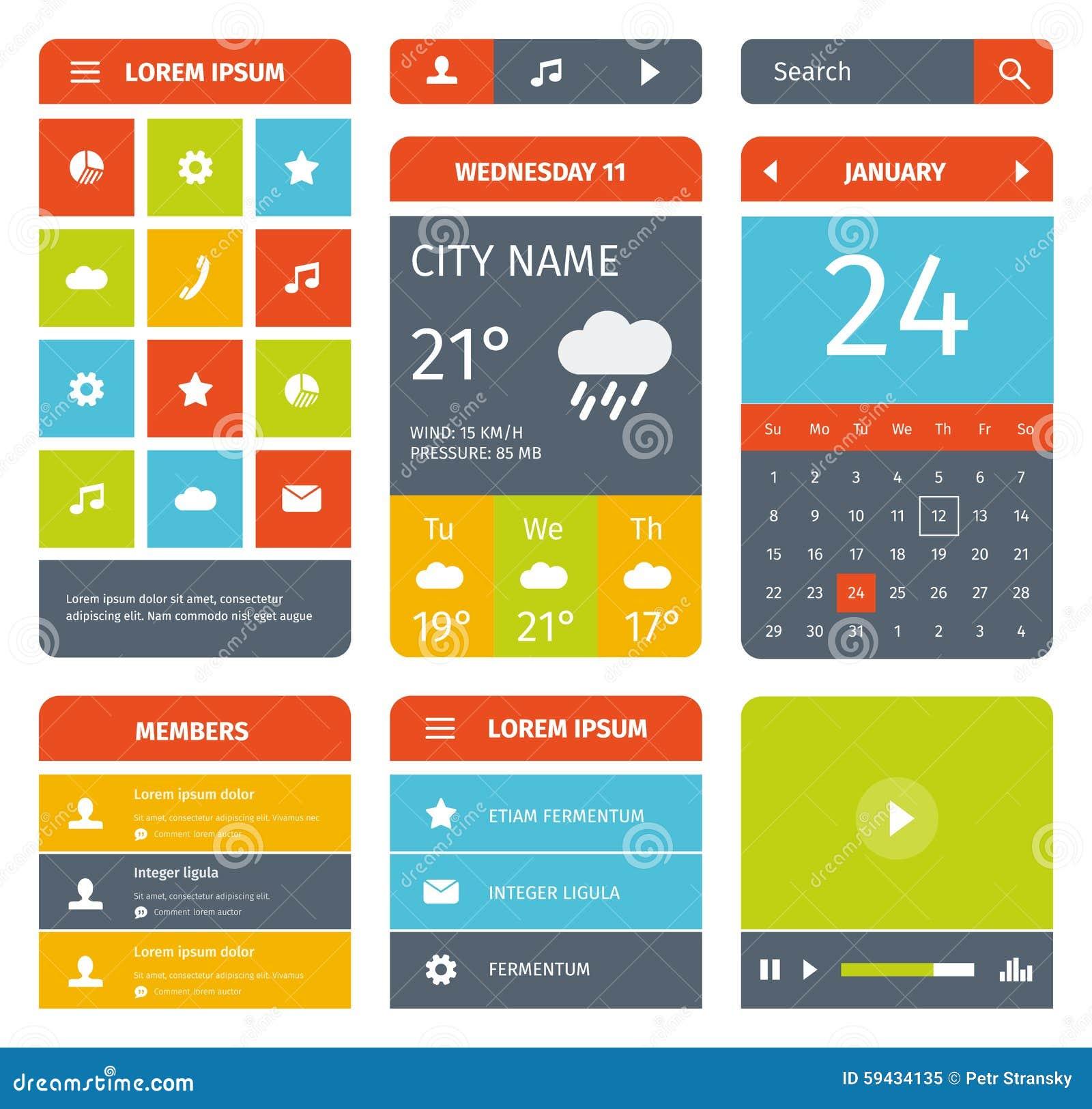 Kleurrijke reeks vlak mobiel app ontwerp en pictogrammen