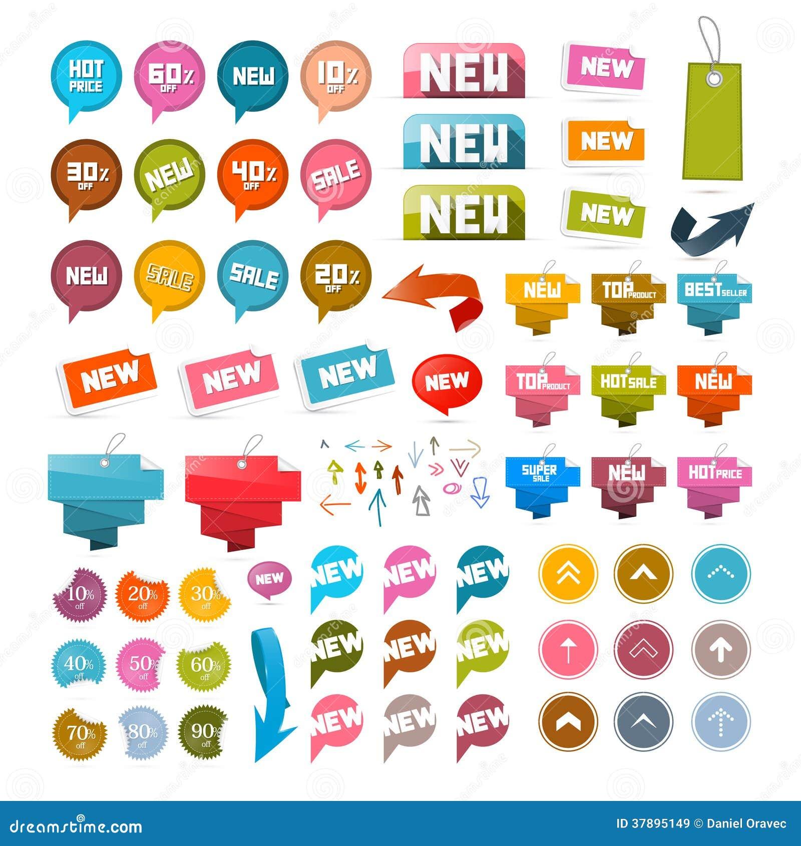 Kleurrijke Retro Document Reeks Korting en Nieuwe Vectoretiketten, Markeringen, Pijlen