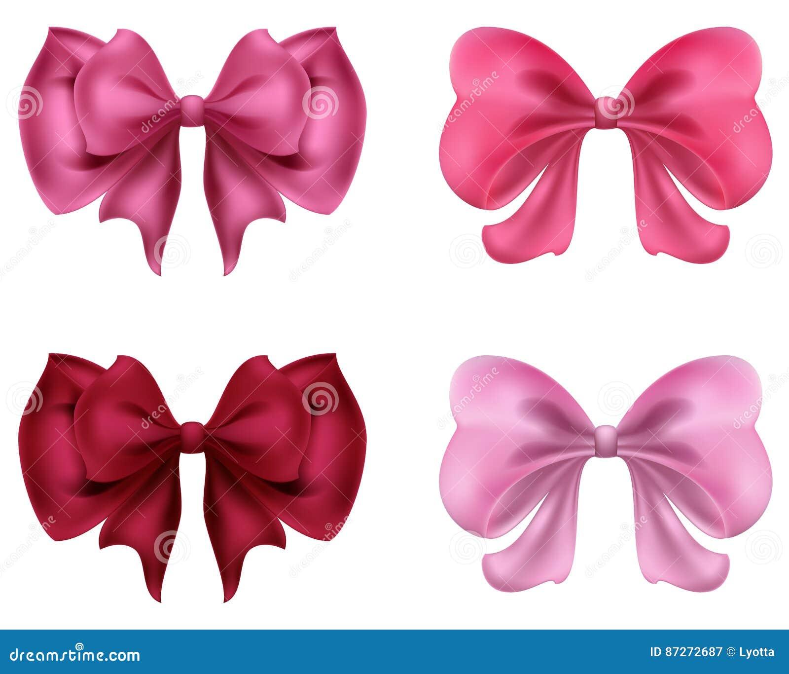 Kleurrijke rode en roze bogen en lintenillustratie