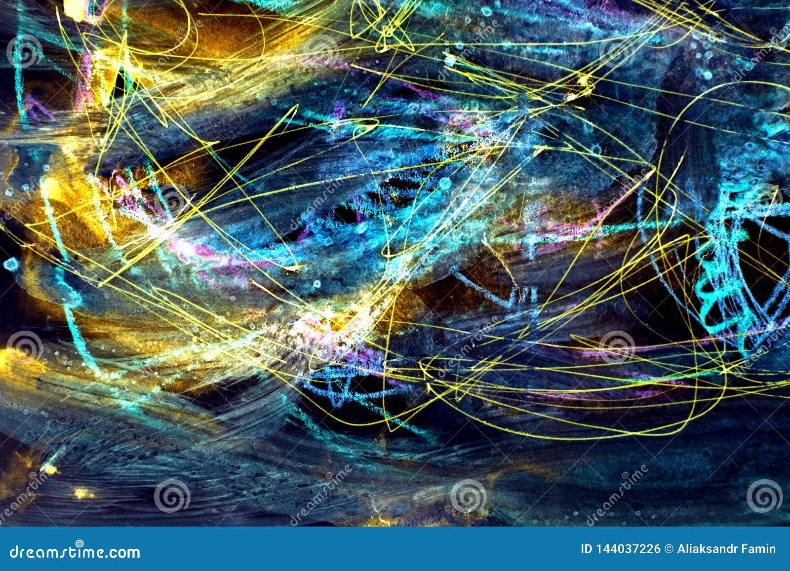 Kleurrijke ruimteachtergrond De slagen van verf blauwe lijnen en vlekken op papier