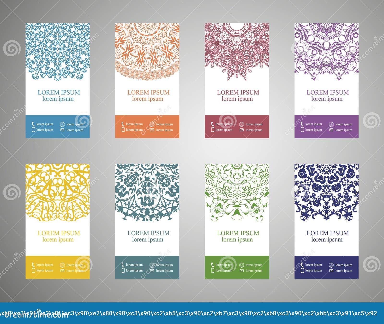 Kleurrijke sier etnische bannerreeks Malplaatjes met krabbel stammenmandalas