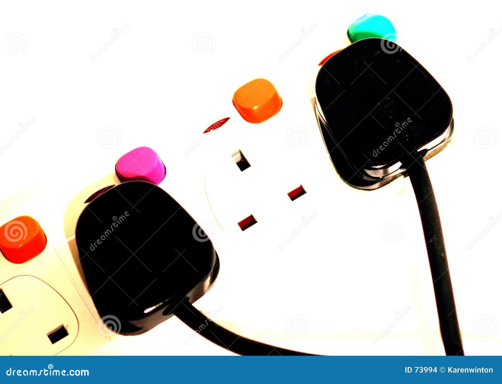 Kleurrijke stoppen en contactdozen