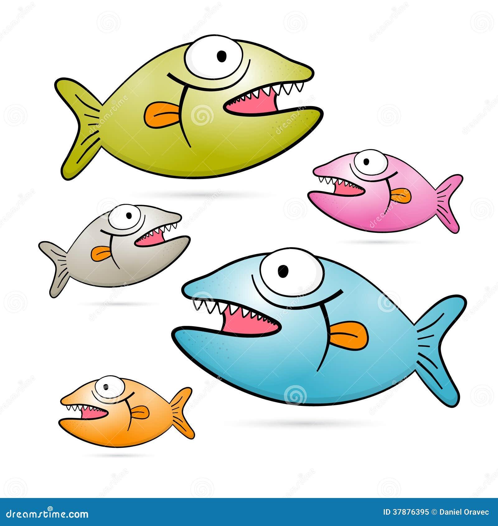 Kleurrijke Vectorvissen met Geplaatste Tanden