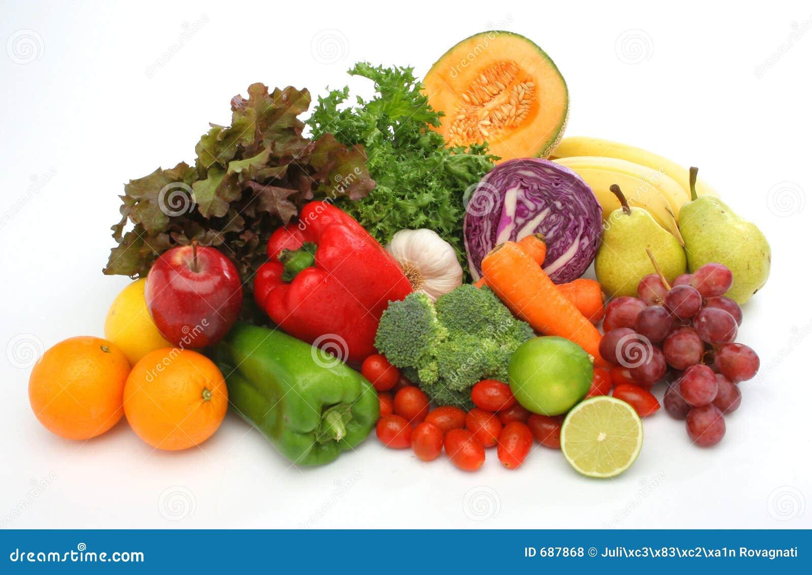 Kleurrijke verse groep groenten en vruchten