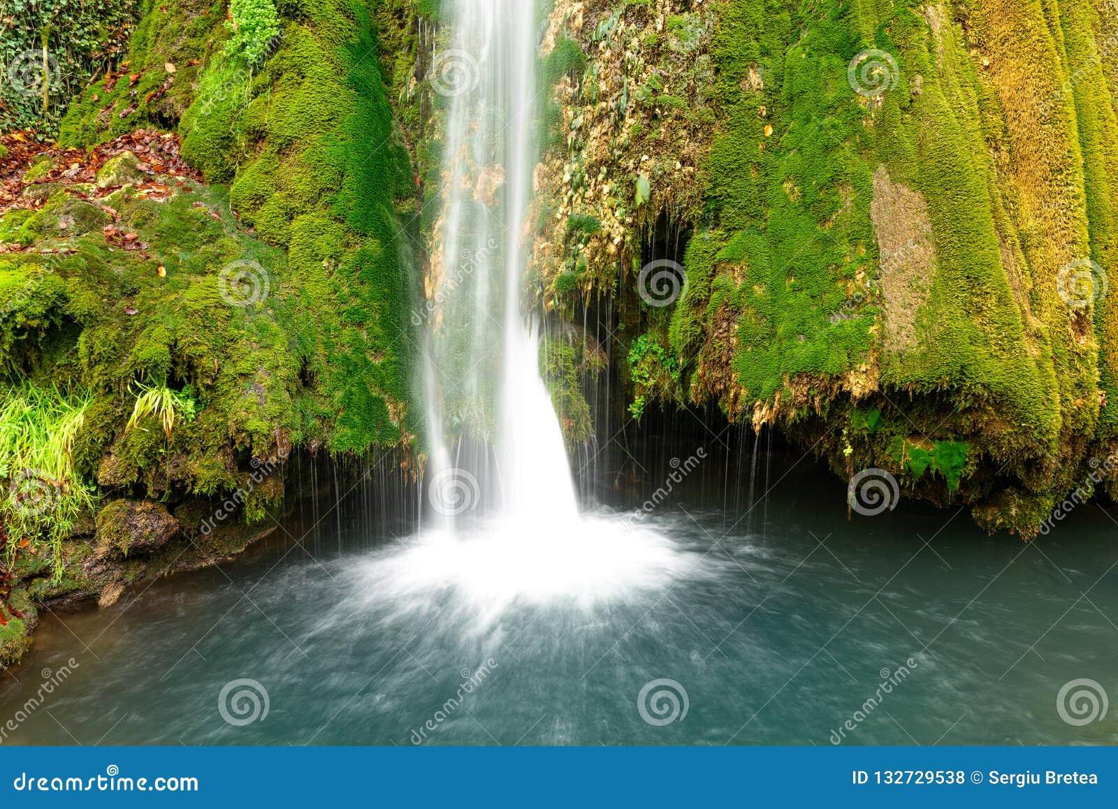Kleurrijke waterval in de bos vroege herfst met gebladerte