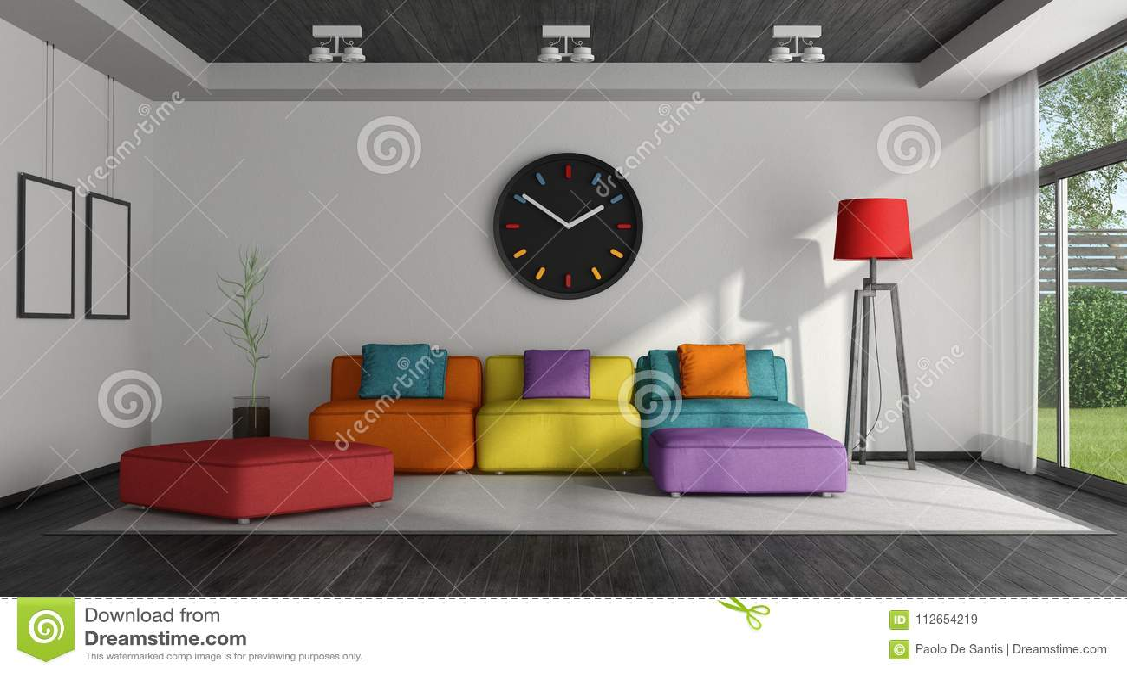 Kleurrijke Witte Woonkamer : Kleurrijke woonkamer stock illustratie. illustratie bestaande uit