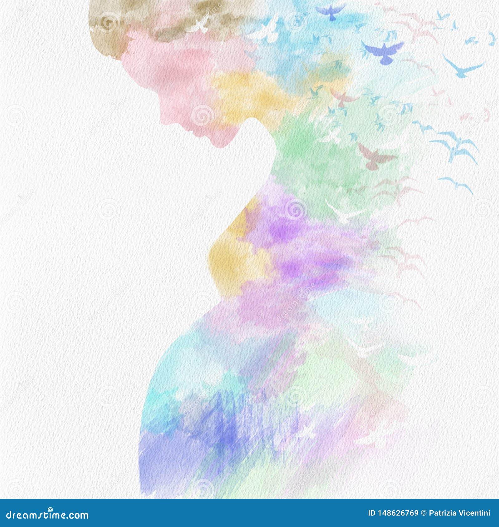 Kleurrijke zoete zwanger op papier