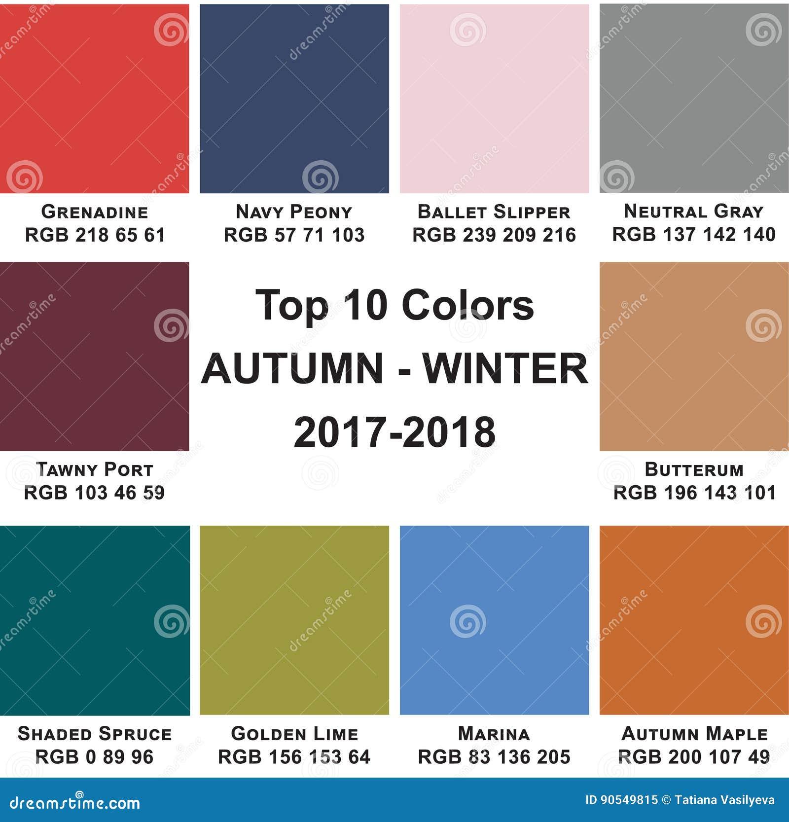 Kleurt Top 10 Herfst Winte 2017 2018 Stock Illustratie Afbeelding 90549815