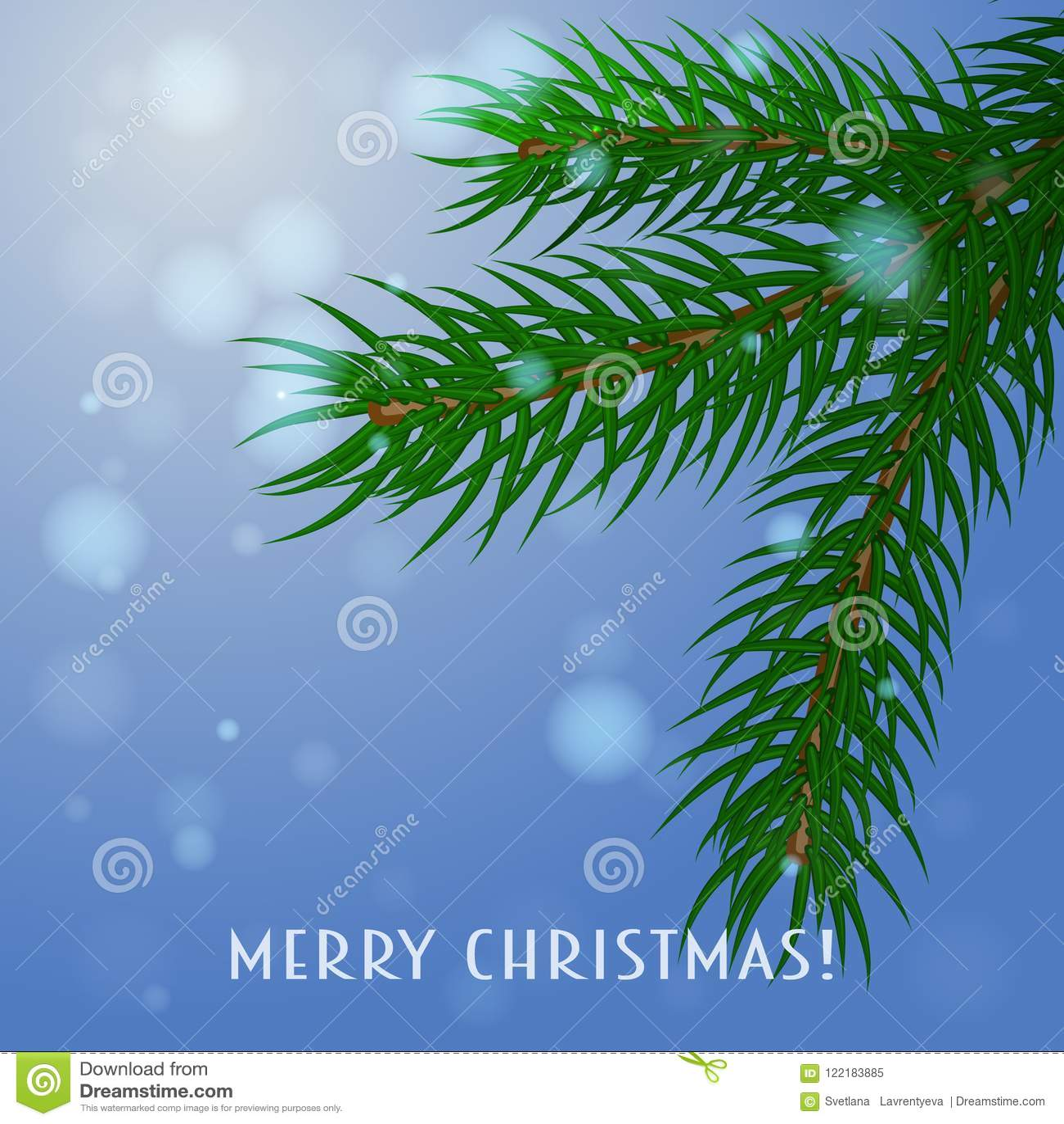 Kli card julvektorn En filial av granen på en blå bakgrund