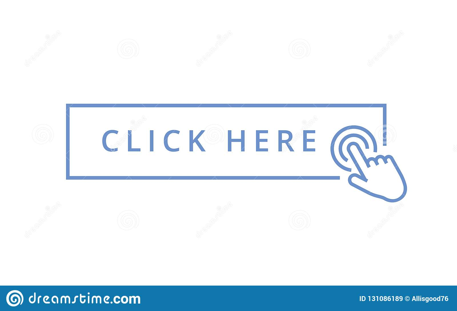 Klicken Sie hier Knopf mit dem Handzeigerklicken r Illustration lokalisiert für Grafik und Webdesign