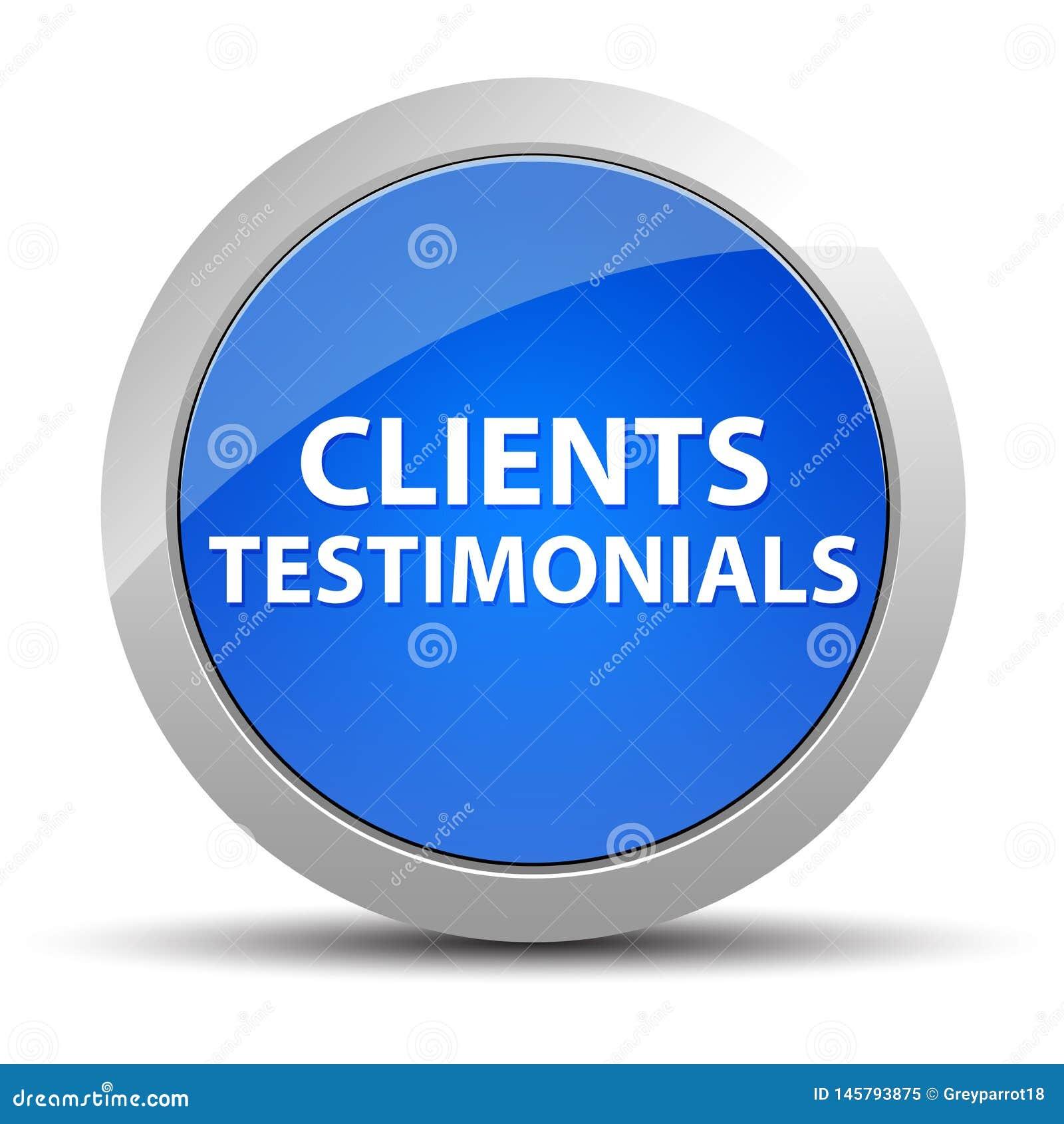 Klientów Testimonials round błękitny guzik