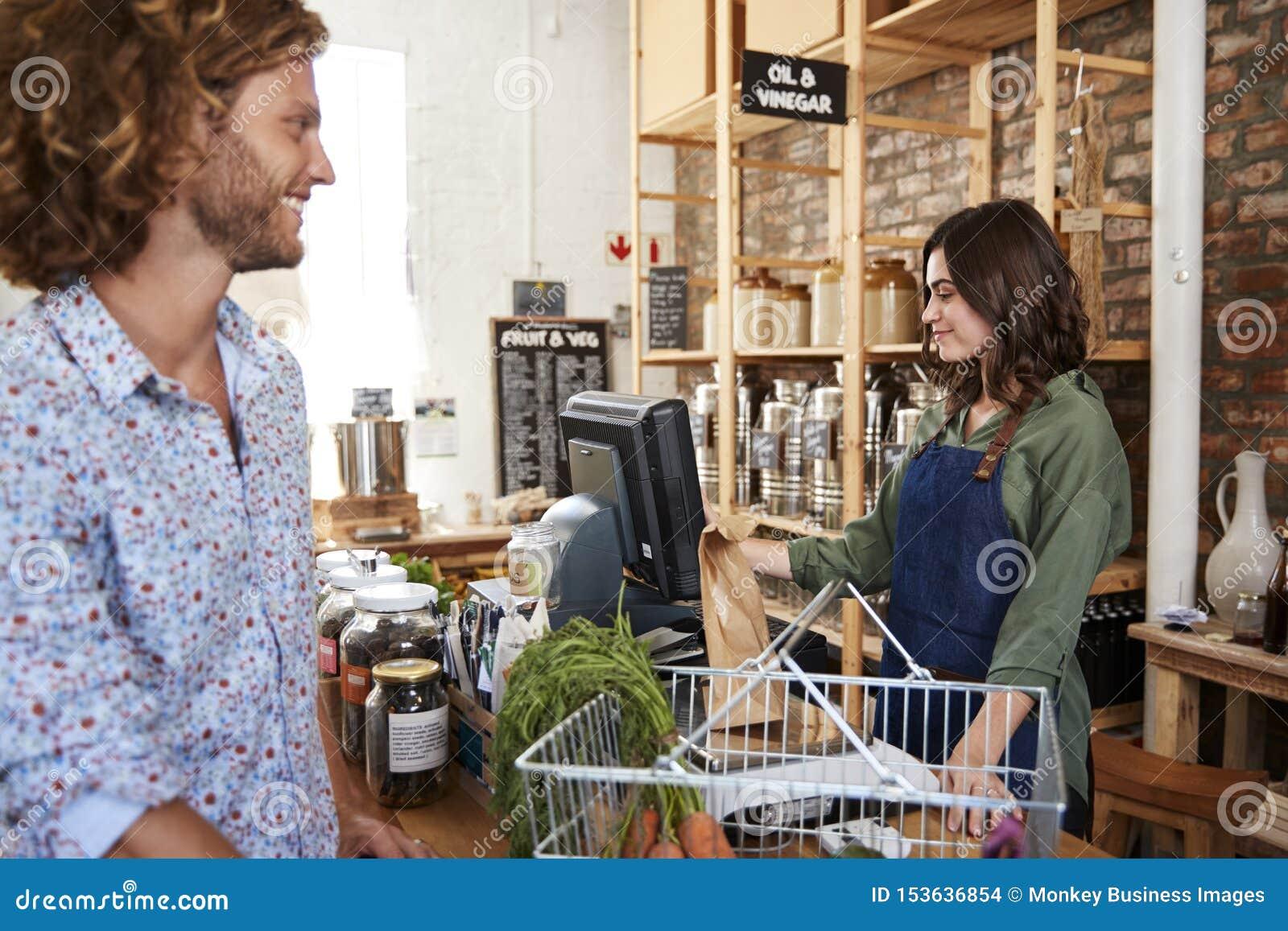 Klient Płaci Dla Robić zakupy Swobodnie Przy kasą Podtrzymywalny klingerytu sklep spożywczy