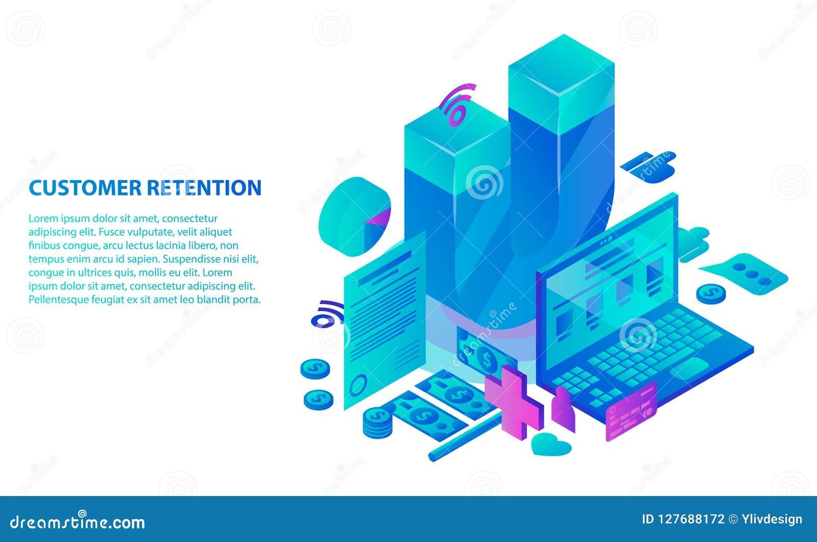 Klient retenci usługa pojęcia tło, isometric styl