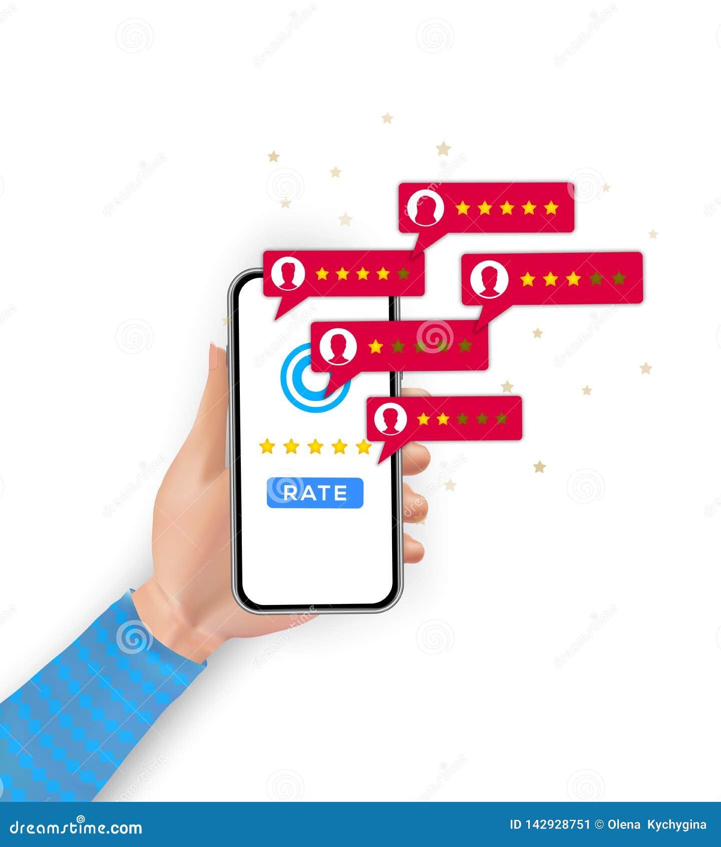 Klienta przeglądowy ratingowy ranking na telefonie komórkowym Klient informacje zwrotne cenienie, testimonials, głosowanie system