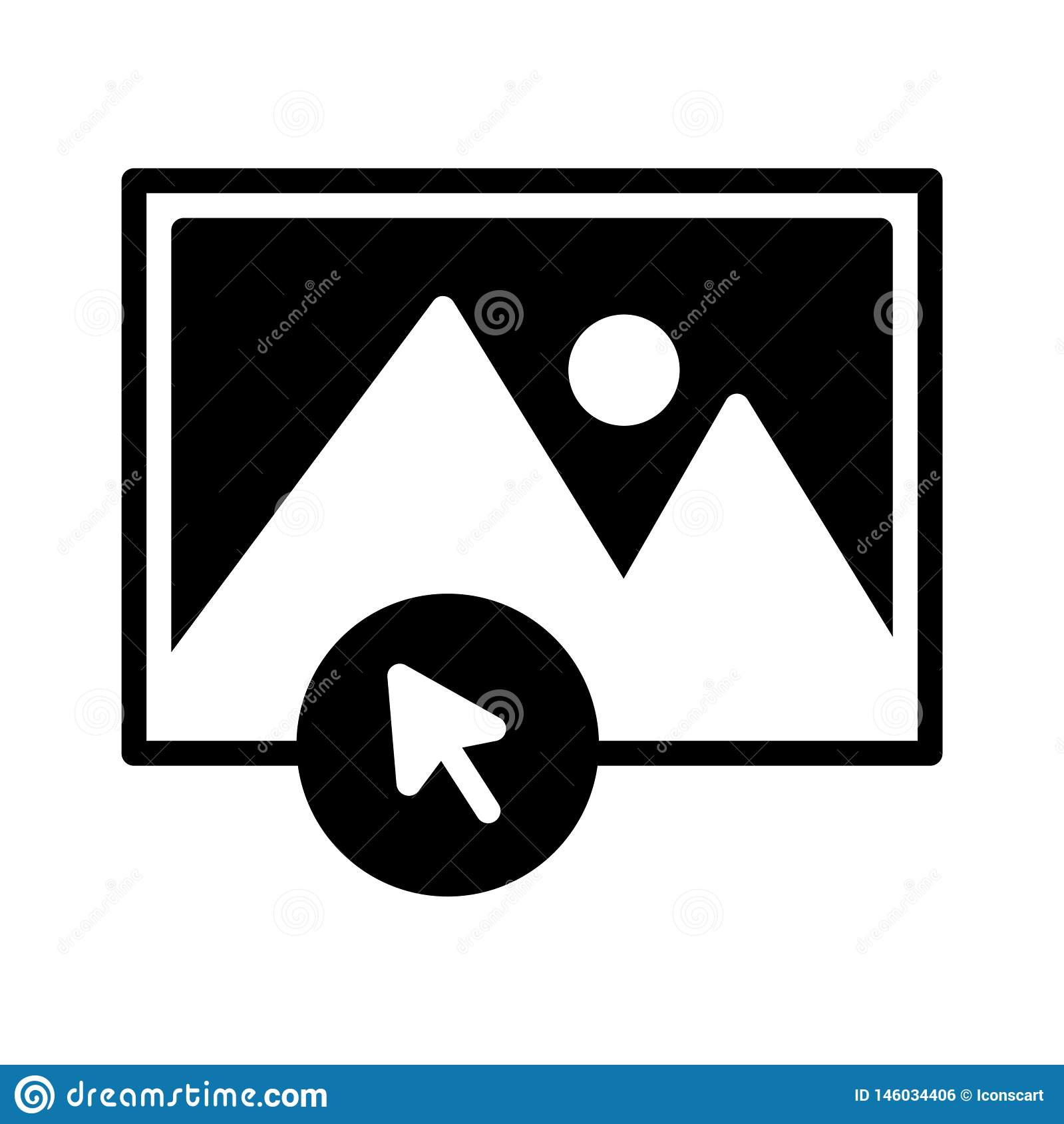 Klik foto glyph vlak vectorpictogram