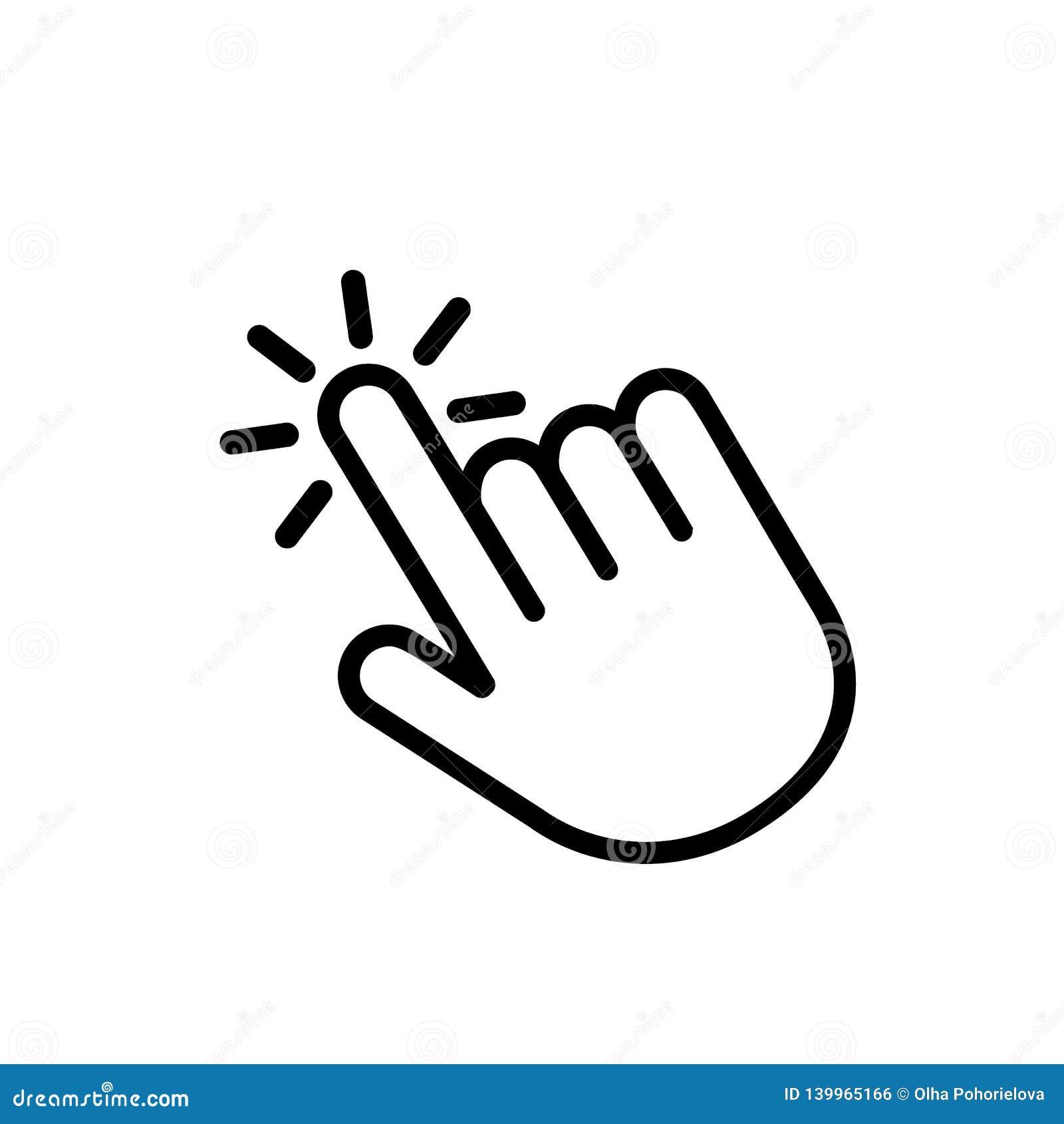 Klik hier de knoop met het handpictogram Lineair pictogram voor websites Vlakke vector geïsoleerde illustratie