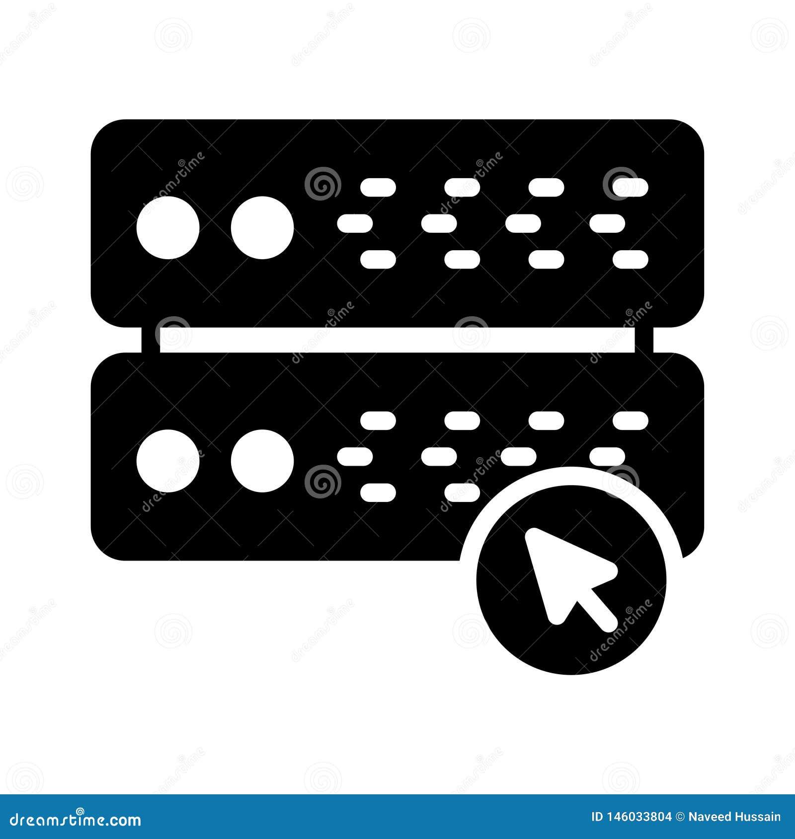 Klik server glyph vlak vectorpictogram