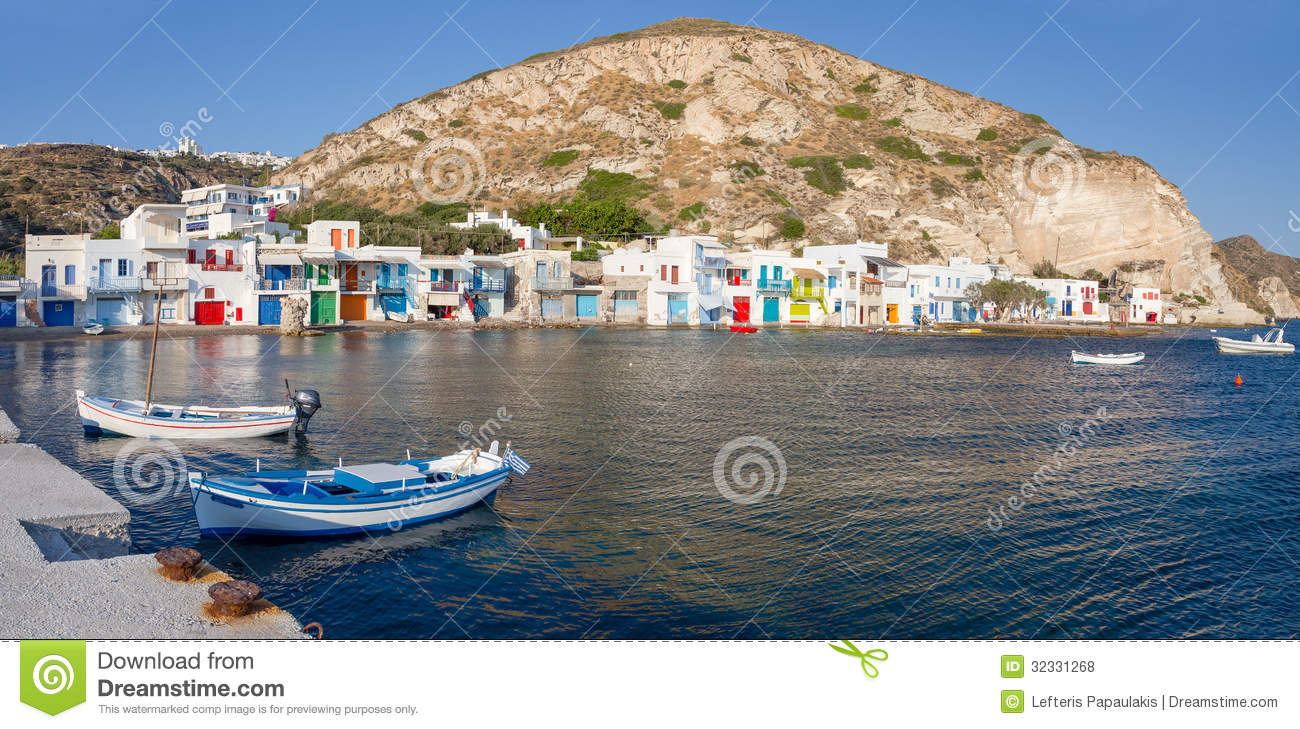 Panorama of the picturesque village of Klima in Milos island, Cyclades ...