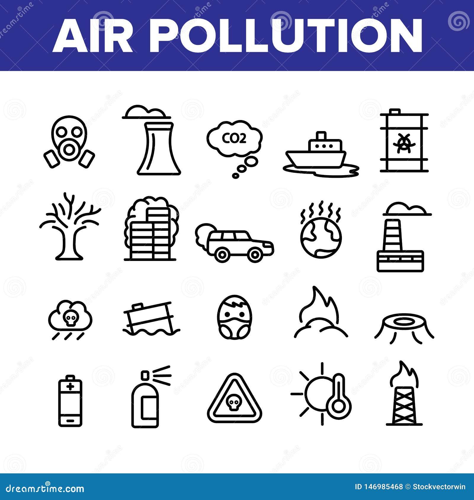 Klimaluftverschmutzungs-linearer Ikonen-Vektor-Satz