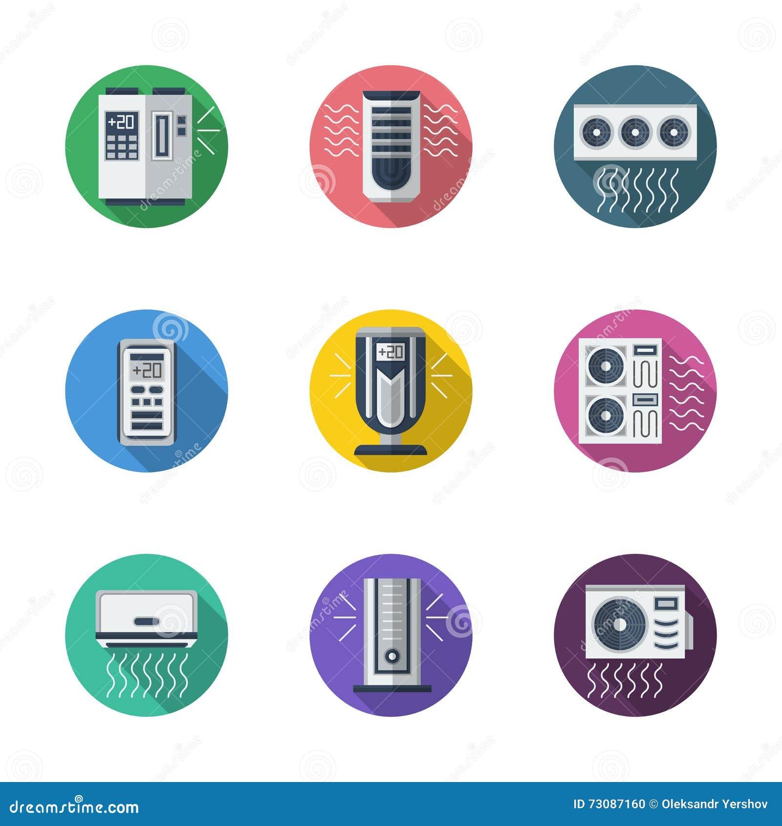 Klimatyzacj round płaskie ikony