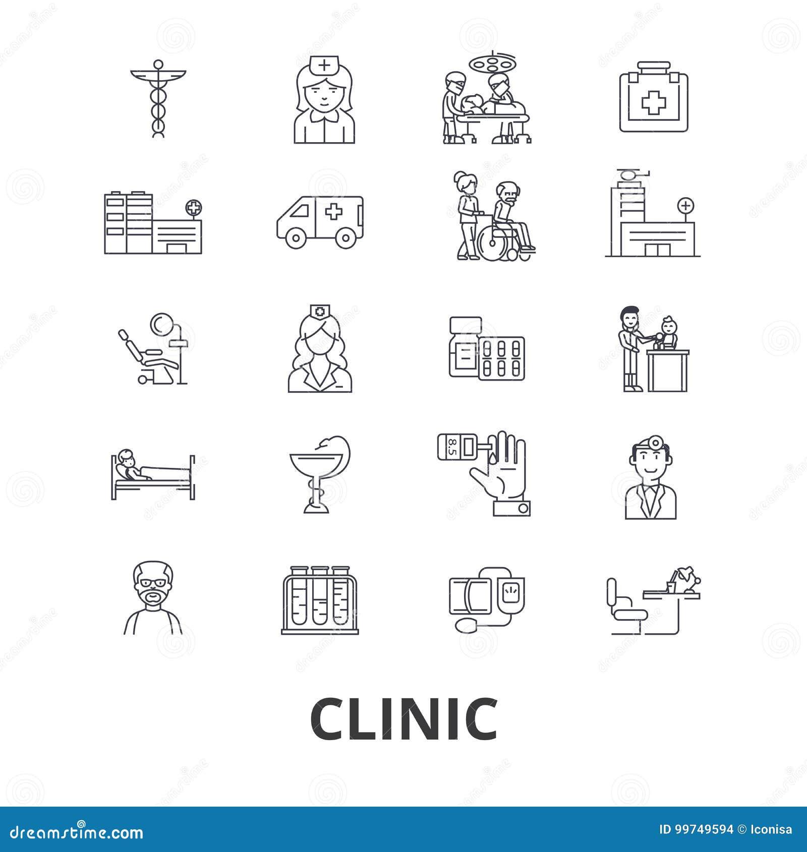 Klinik sjukhus, medicinskt rum, doktorskontor, medicin, sjukvård, operationlinje symboler Redigerbara slaglängder plant