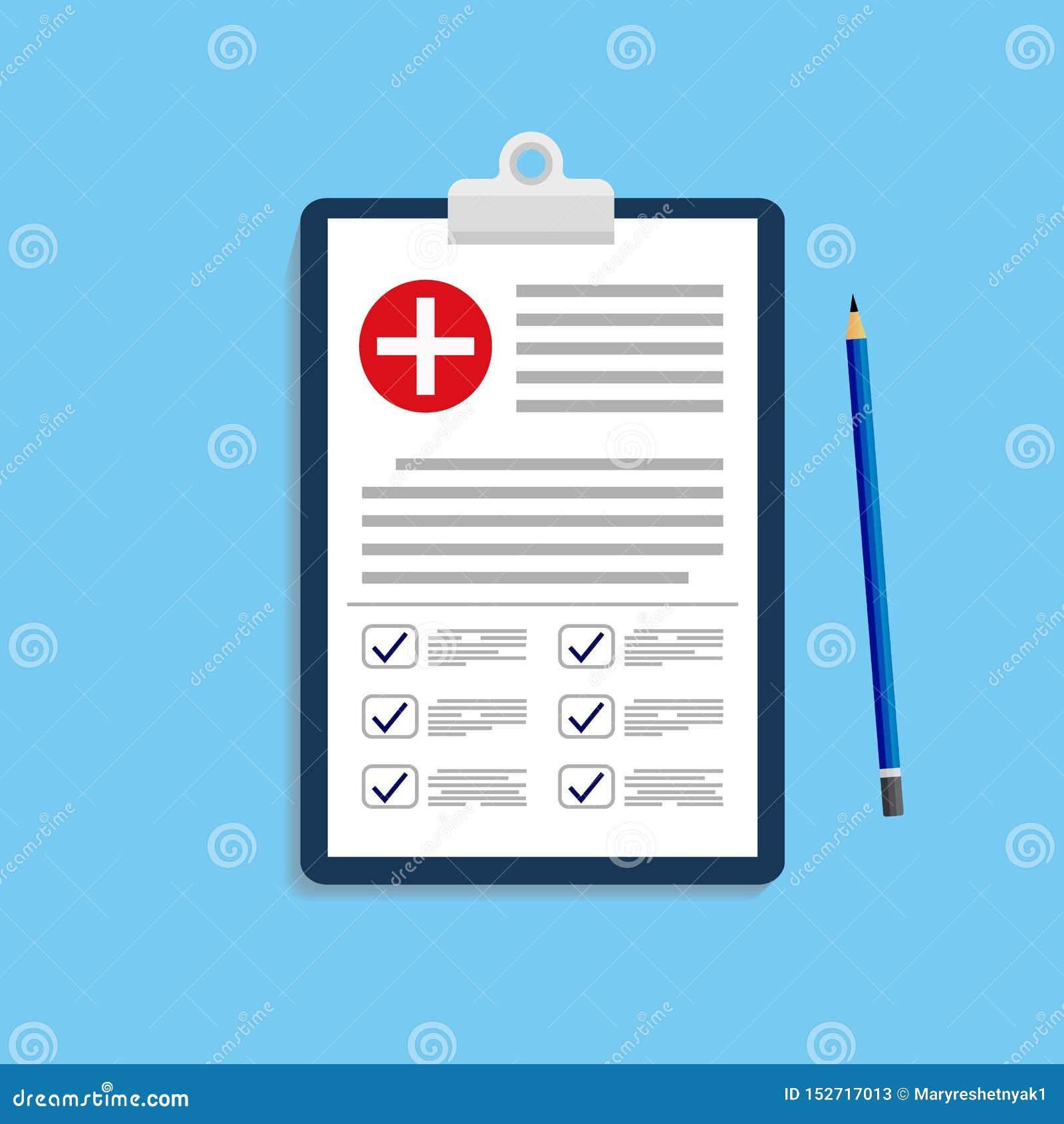 Kliniskt rekord, recept, rapport för medicinsk undersökning, sjukförsäkringbegrepp Skrivplatta med kontrollistavektorn eps10