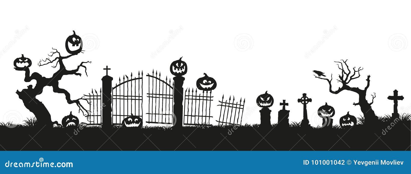 Klipp pumpa för personen för halloween ferie ut Svarta konturer av pumpor på kyrkogården på vit bakgrund Kyrkogård och brutna trä
