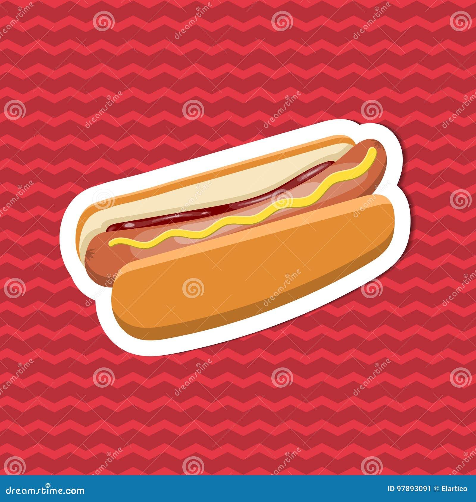 Klistermärke av varmkorven med senap och ketchup på röd randig bakgrund Beståndsdelar för grafisk design för menyn, affisch