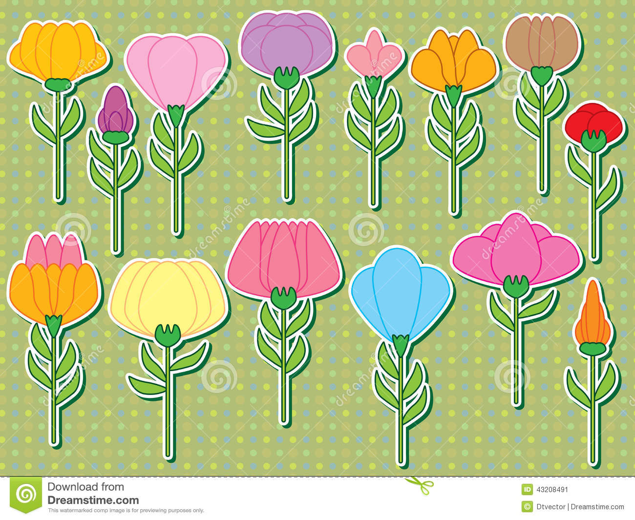 Download Klistermärke För Blommastamuppsättning Vektor Illustrationer - Illustration av prick, samling: 43208491