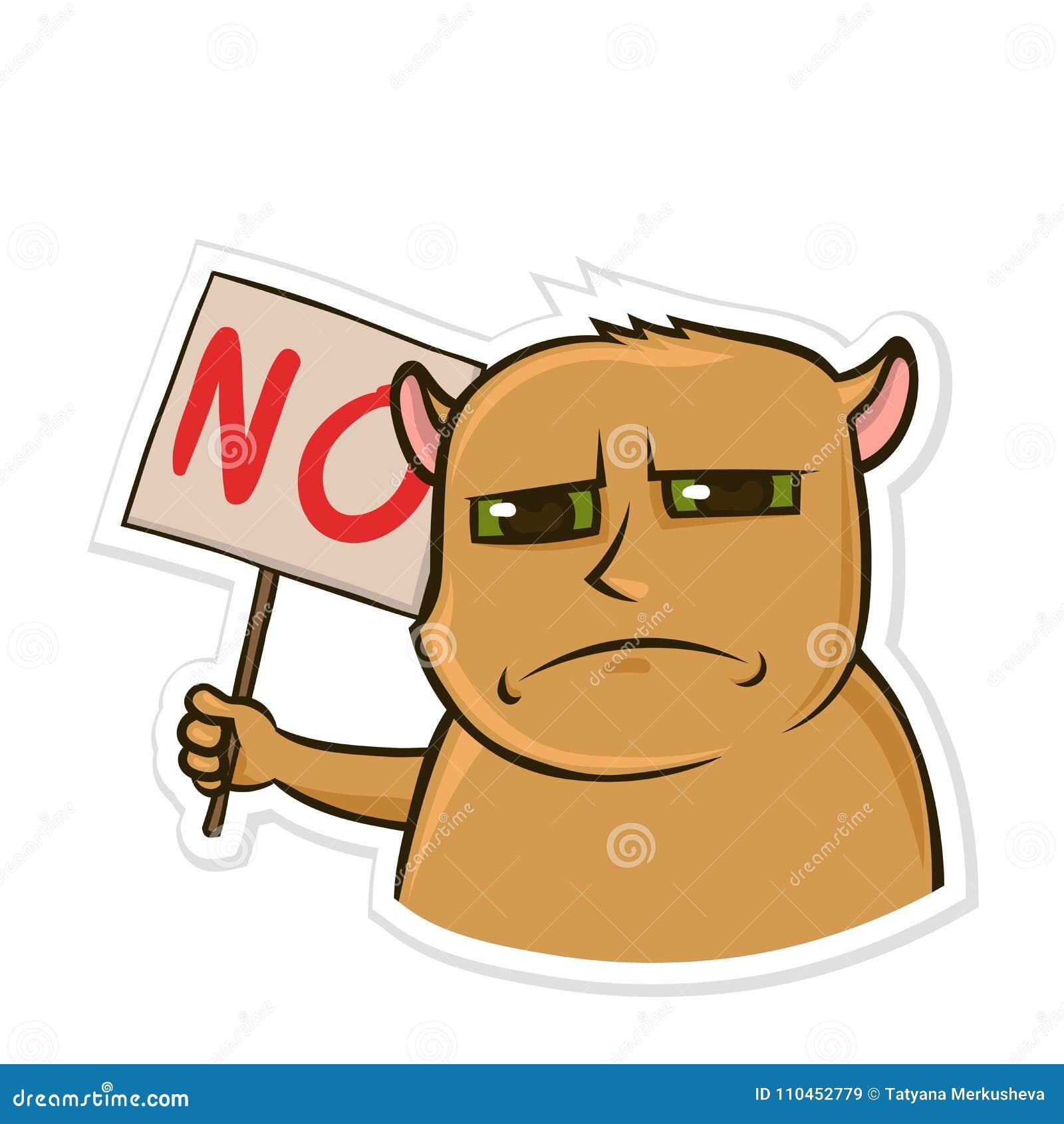 Klistermärke för budbärare med det roliga djuret Missbelåten hamster som rymmer ett tecken med ordet inget Isolerad vektor