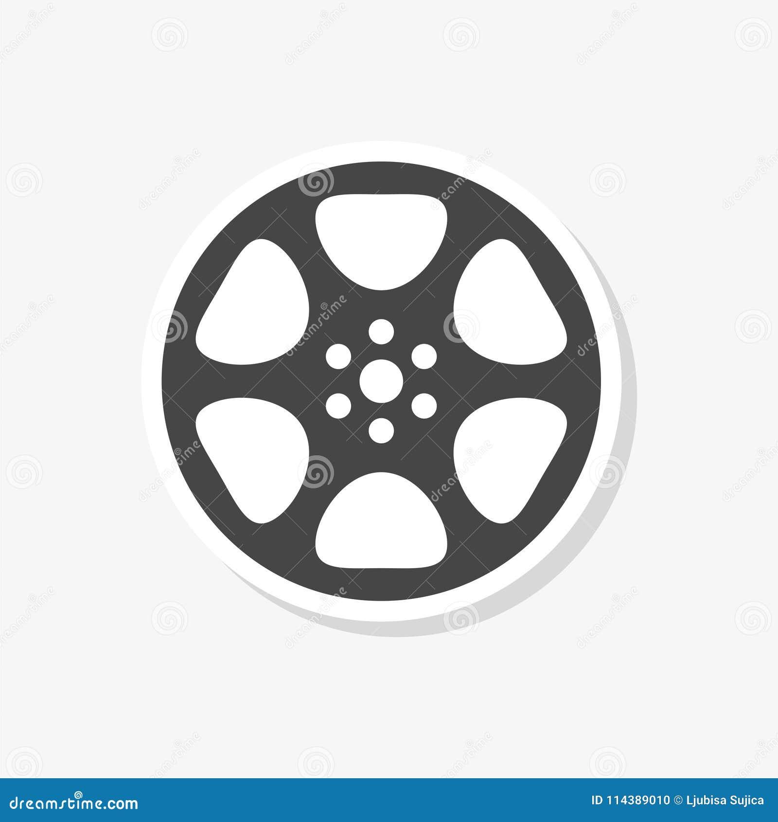 Klistermärke för filmrulle, den videopd symbolen, filmsymbol, enkel vektorsymbol