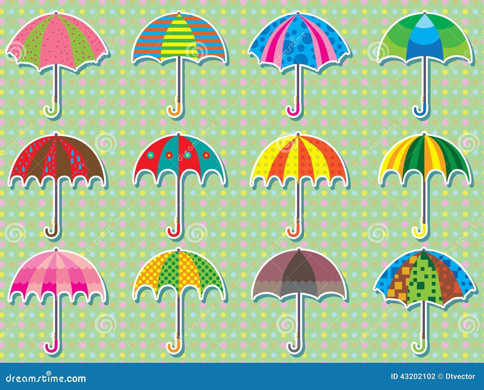 Download Klistermärke För Paraplydesignuppsättning Vektor Illustrationer - Illustration av green, barn: 43202102