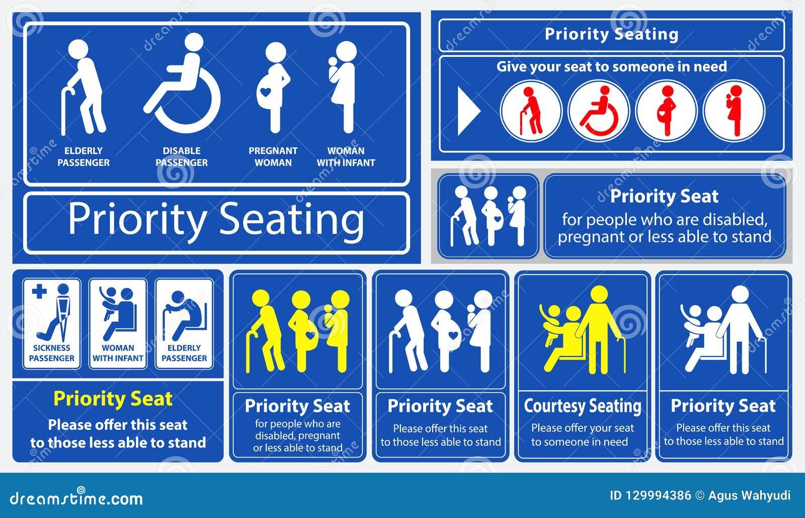 Klistermärke för prioritetsplats genom att använda offentligt trans., som bussen, samlas drevet, snabb transport och annan