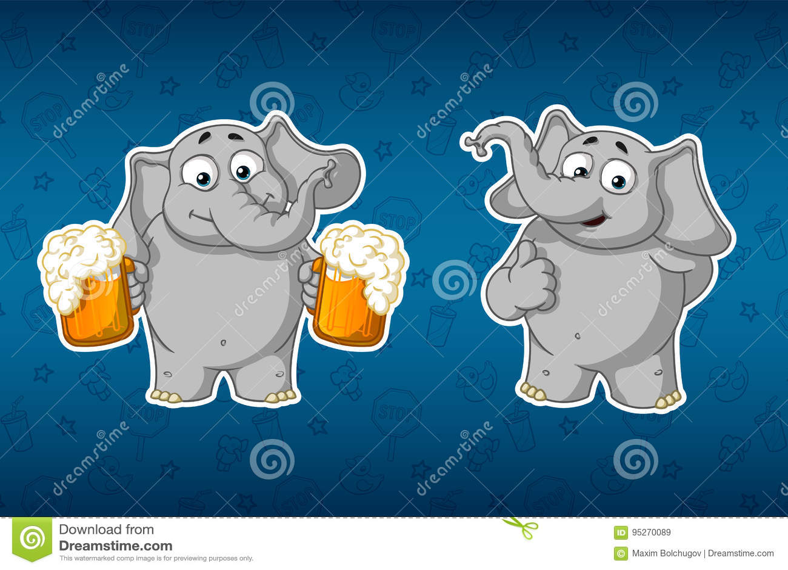 Klistermärkeelefanter Han rymmer rånar av öl och erbjuder till drinken Han lyftte upp hans finger, som Stor uppsättning av kliste