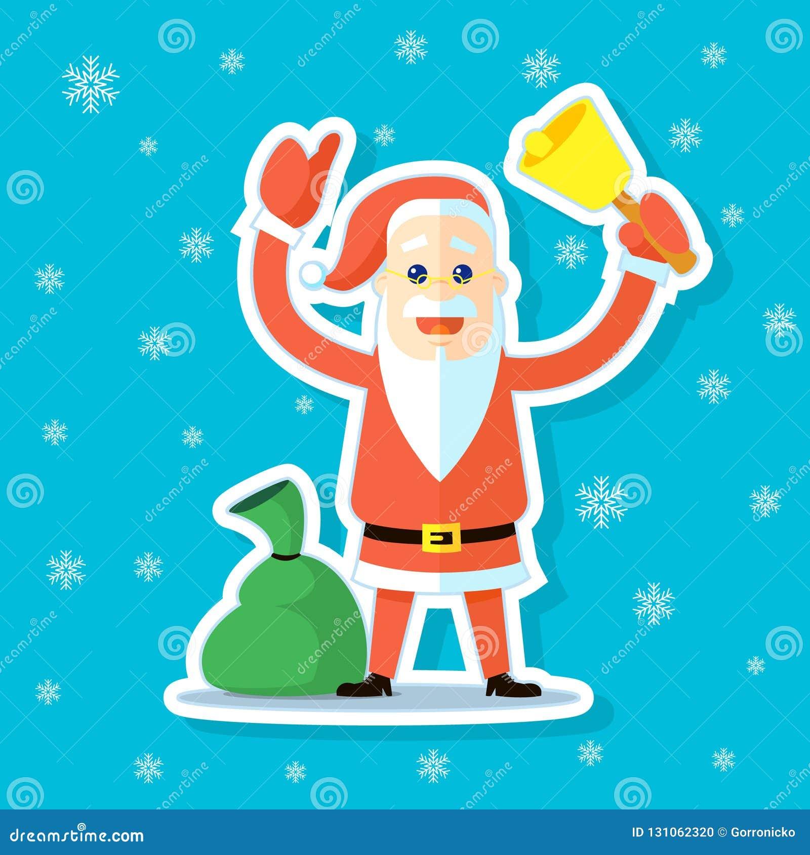 Klistermärkeillustration av en plan konsttecknad film gulliga Santa Claus med klockan och säcken med gåvor