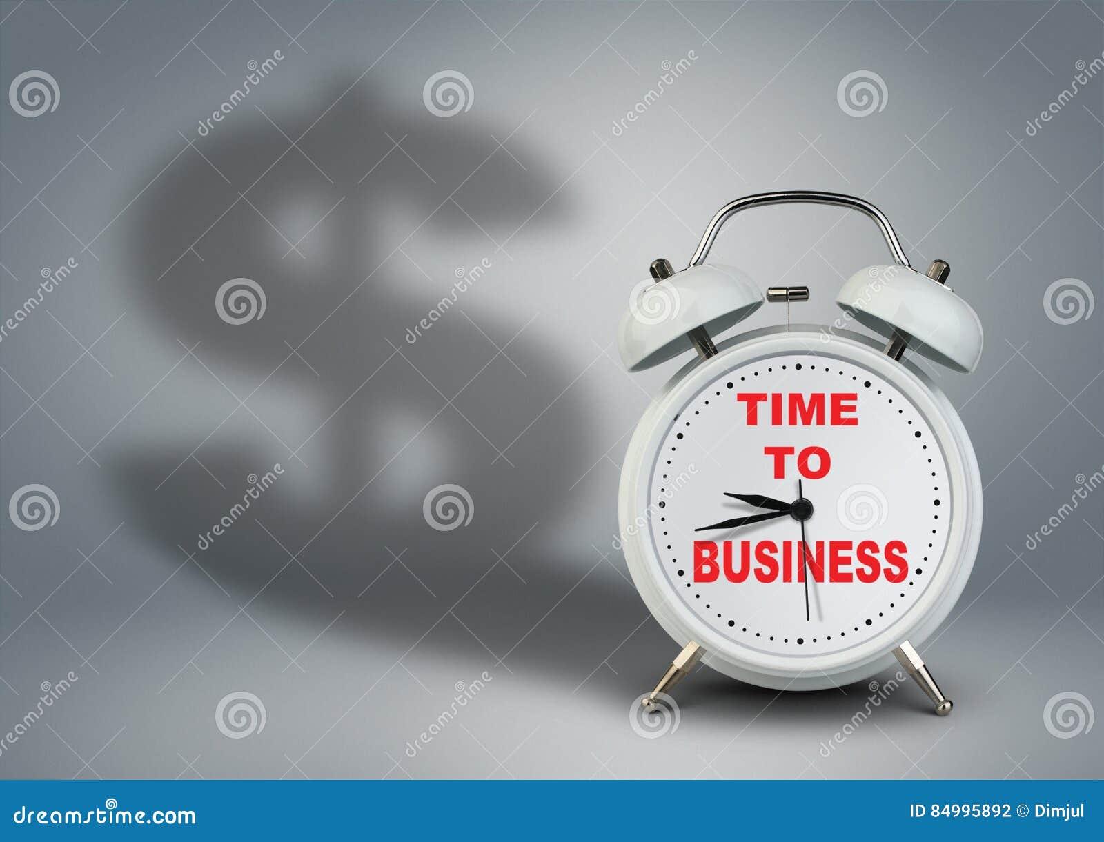 Klocka med dollarskugga, tid till begreppet för affärsstart