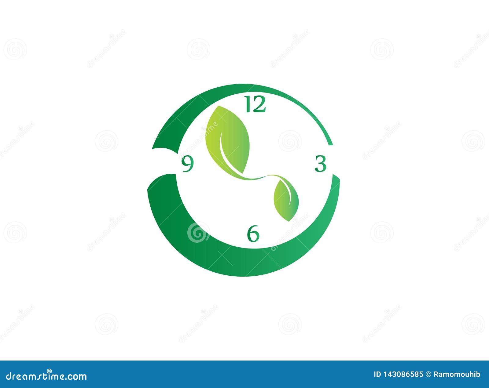 Klocka med sidor som det medurs symbolet som sparar naturen för logodesign