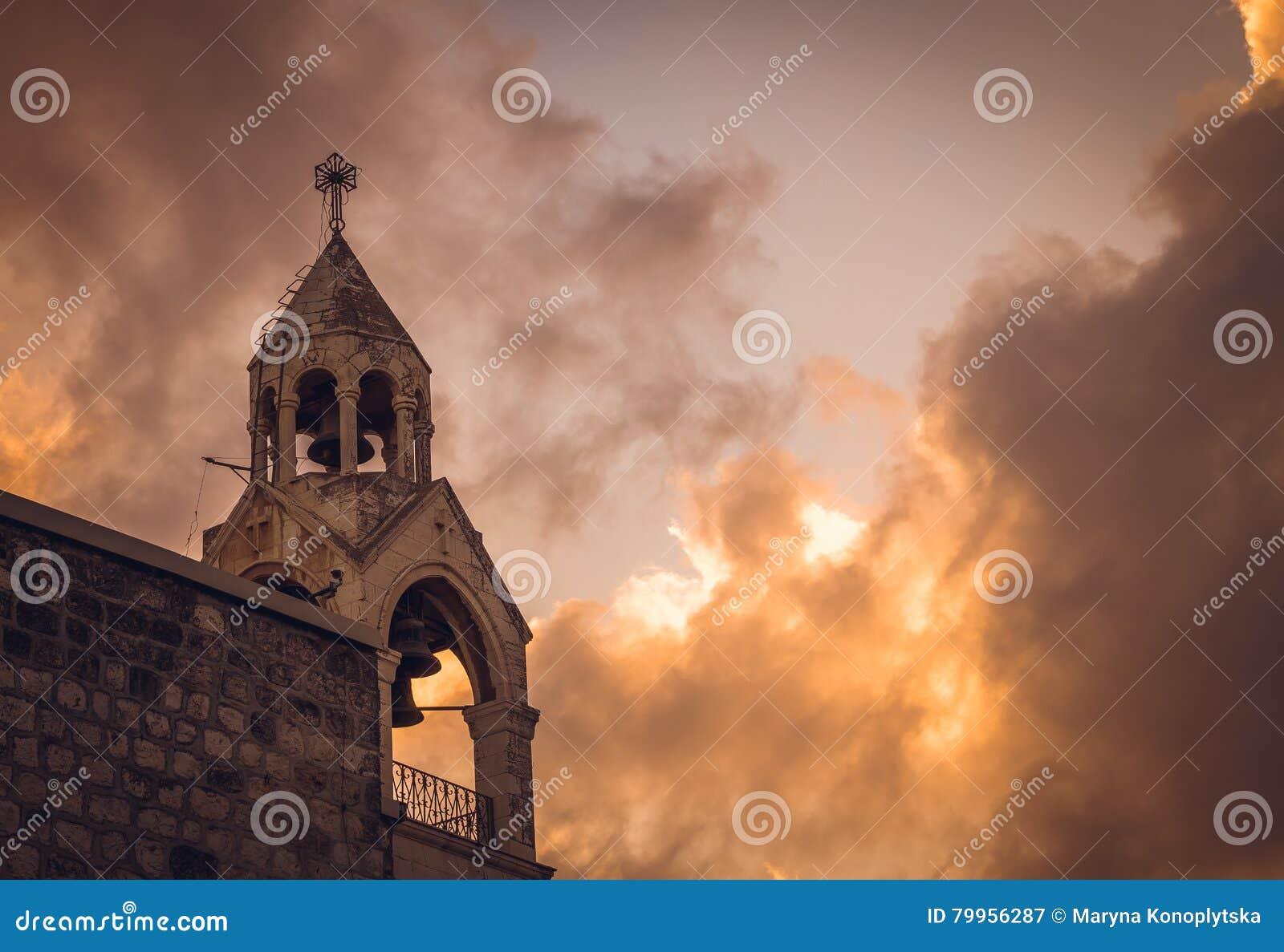 Klocka torn av kyrkan av Kristi födelsen, Betlehem, Palestina