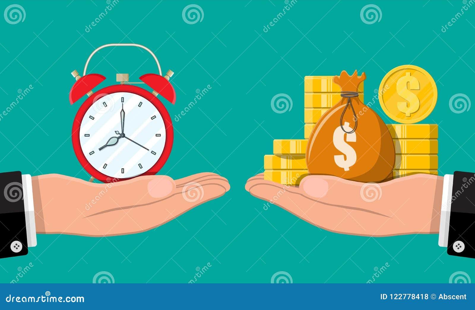 Klok en gouden muntstukken in handen