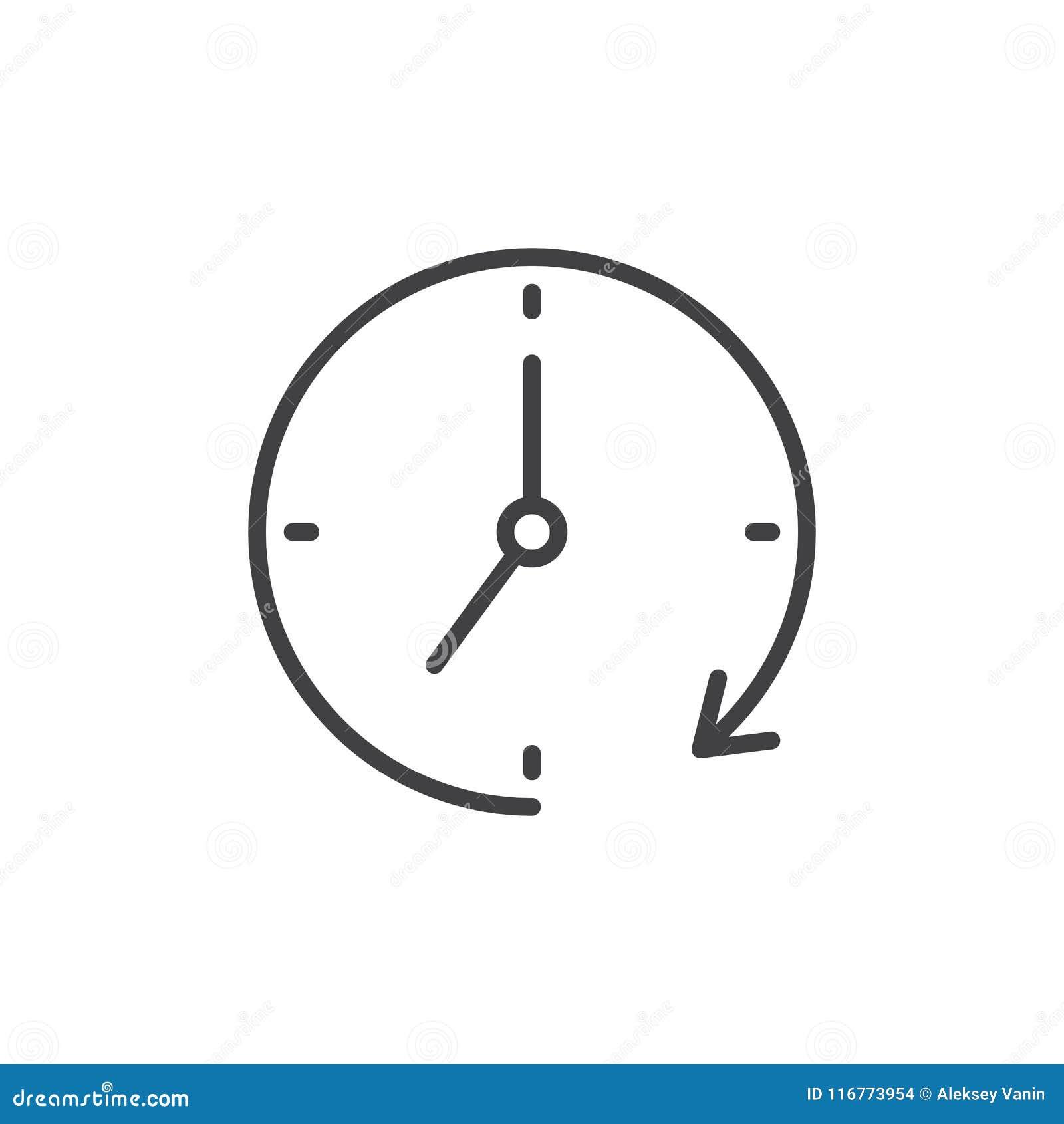 Klok en het overzichtspictogram van de omwentelingspijl
