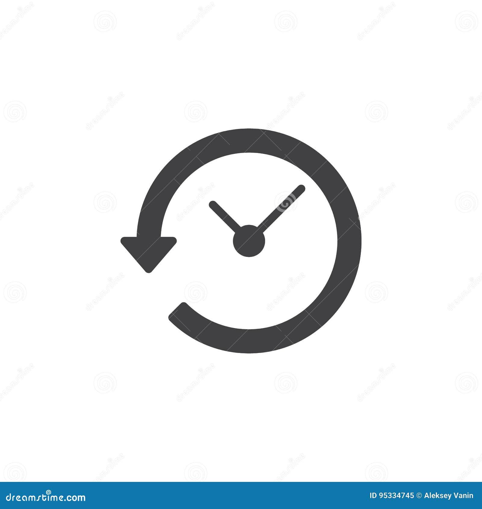 Klok met pijl rond pictogram vector, gevuld vlak teken, stevig die pictogram op wit wordt geïsoleerd