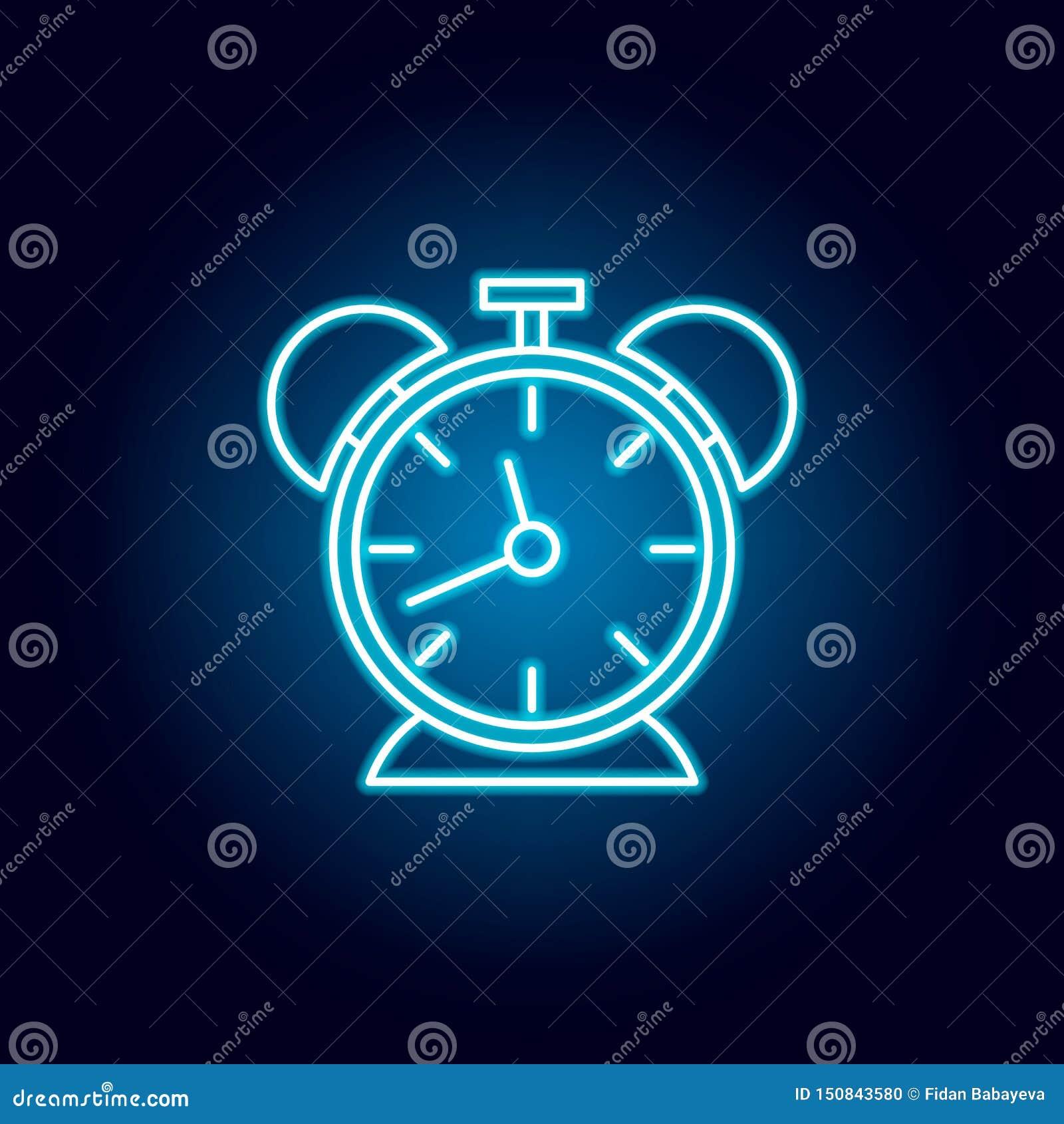 Klok, tijdopnemer, het pictogram van het uuroverzicht in neonstijl elementen van de lijnpictogram van de onderwijsillustratie de