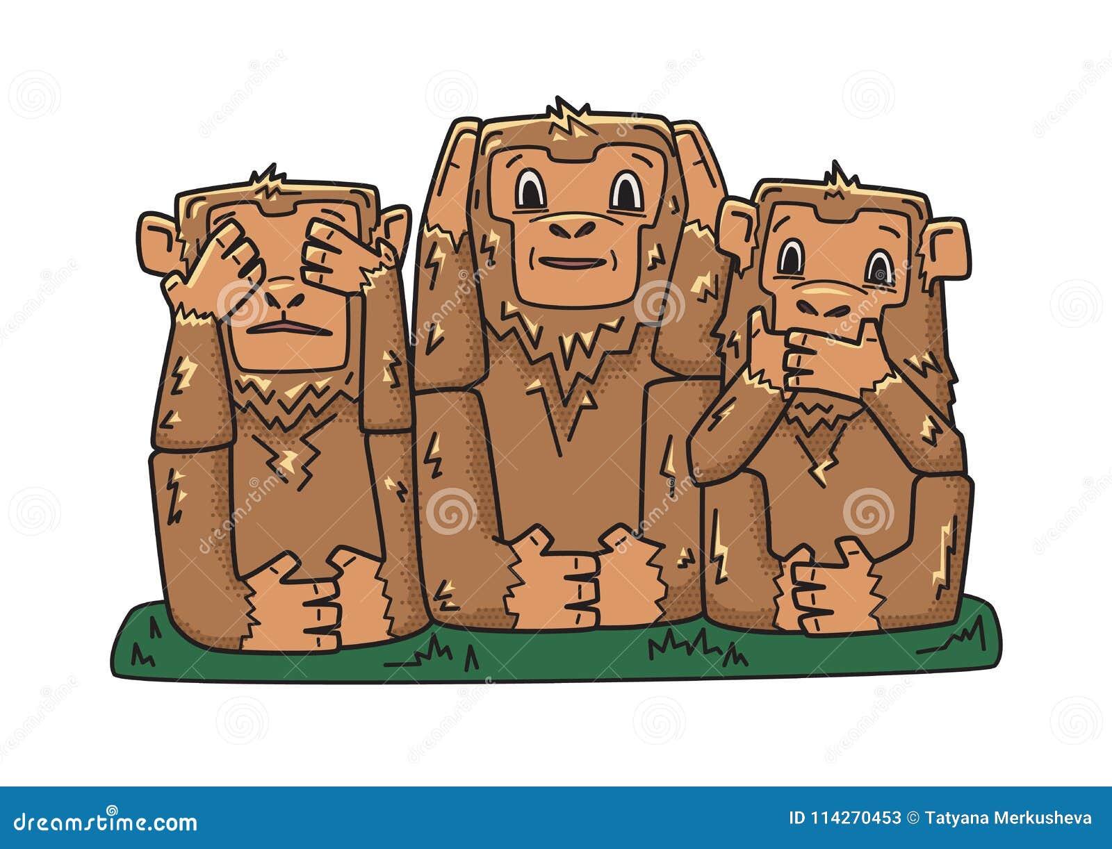 Kloka apor tre mystikerapor ondskan hör inget för att se för att tala Vektorteckenillustration som isoleras på