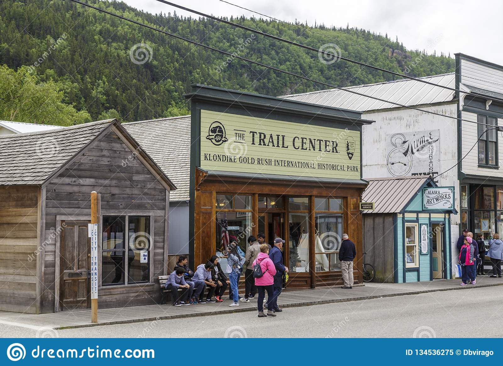 Klondike Trail Center. SKAGWAY, ALASKA - June 1, 2016: Skagway is a borough in Alaska with a full time population of about 1,000 people. During the summer royalty free stock photo